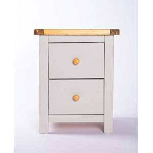 Cabinet Bits Grey Body and Waxed Top 2 Drawer Bedside GNSW102, One Size