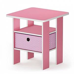 Furinno Andrey End Table, Wood, Pink/Light Pink, 1-Pack