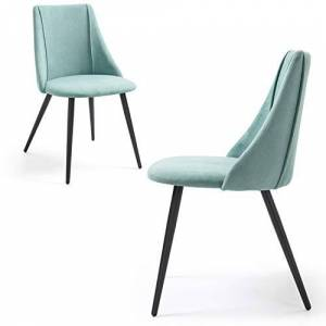 MEUBLE COSY Dining Set of 2 Upholstered Living Room Chair Swivel Fabric Seat Metal Legs Green, 52.5x49.5x83.5cm