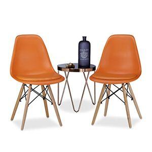 Relaxdays ARVID Retro, Cushion, Set of 2 Dining Chairs, Bowl-Shaped, Modern, 82 x 47 x 55 cm, Orange, 55 x 47 x 82 cm