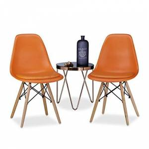 Relaxdays ARVID Retro, Cushion, Set of 2 Dining Chairs, Bowl-Shaped, Modern, 82 x 47 x 55 cm, Orange, 55 x 47 x 82 cm