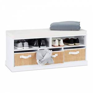 Relaxdays Bench Cushion, Padded Shoe Storage Cabinet, 2 Open Compartments, 3 Baskets, HWD: 43 x 95 x 34.5 cm, 43 x 95 x 34.5cm