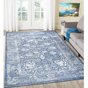 """A2ZRUG A2Z Rug Santorini 6076 Blue Overdyed Floral Pattern With Border Dining Room Modern Transitional Area Rug Soft Short Medium Pile 200x290cm-6'7"""" x9'6 ft Large Traditional Carpets Rugs"""