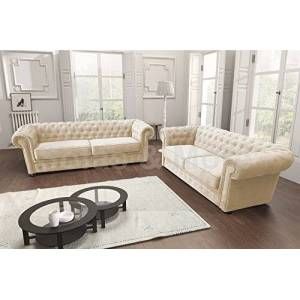 Sofas and More Chesterfield Style Corner Sofa Set 3+2 Seater Armchair Cream Fabric (3+2 Seater)