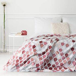 Design91 Blanket Sofa Blanket Armchair Blanket Bed Throw Kloe Set Living Room Polyester Red 150 x 200 cm
