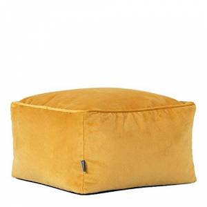 icon Milano Velvet Pouffe - 40cm x 24cm - Large Luxury Square Bean Bag Footstool (Ochre Yellow)
