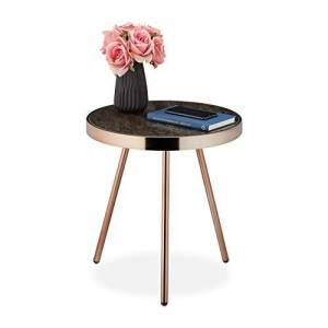 Relaxdays Side Table, Retro Design, Living Room, Glass Top with Marble Look, HxD 45x42 cm, Black-Ros Gold, Steel, Pack of 1