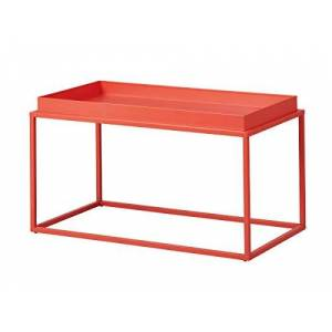 Inter Link Design Coffee Table in Industial Style Metal Orange Suitable for Indoor and Outdoor Use, 80 x 45 x 45 cm