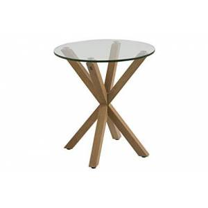 Movian Amazon Brand - Movian Zala End/Side Table with Glass Table Top, 50 x 50 x 55 cm, Glass/Brown