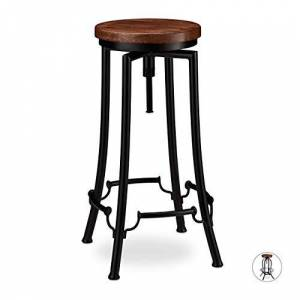 Relaxdays Industrial Barstool, Swivel Bar Seat, Vintage Chair, Iron & Wood, Height-Adjustable to 77.5 cm, Black/Brown, iron, wood, 67.5 x 34 x 34 cm