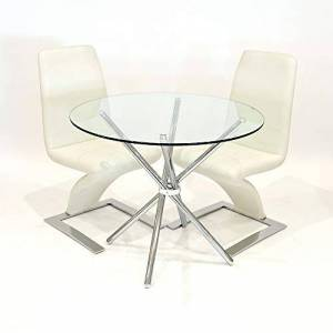Febland 90cm Round Glass Criss Cross Table With Two Cream Carrello Chairs