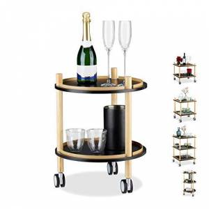 Relaxdays Side Table on Casters, Round, 2 Tiers, Wood, MDF, Small Rolling Trolley, H x D: 50 x 40 cm, Black, Boards, Plastic