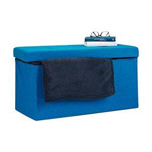 Relaxdays Folding Ottoman Storage Bench XL 38 x 76 x 38 cm Sturdy Foldable Foot Stool Box Bench with Removable Lid, Blue