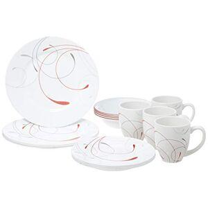 Corelle 16-Piece Vitrelle Glass Splendor Round Chip and Break Resistant Dinner Set, Service for 4, Red/ Grey