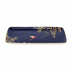 Portmeirion Home & Gifts Sara Miller for Portmeirion Chelsea Trinket Tray, Ceramic Blue, 1.6cm x 19cm x 12cm (H x W x D)