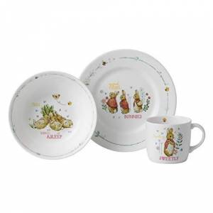 40034093 Wedgwood Peter Rabbit Plate, Bowl & Mug 3 Piece Set Fine Bone China Pink