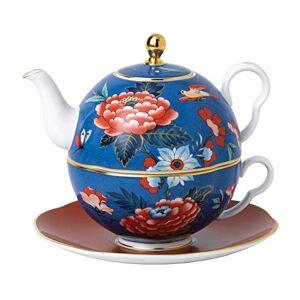 Wedgwood 40032128 Paeonia Blush, Fine bone China, 450 milliliters, Tea for One Blue/Red