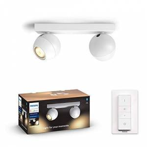 Philips Hue White Amb. Buckram LED Spotlight with Dimmer Switch, White, Dimmable, All White Shades, Controllable via App, Compatible with Amazon Alexa (Echo, Echo Dot)