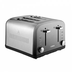 Tower Infinity 4-Slice Toaster with 7 Browning Settings, Defrost, Reheat and Cancel Functions, Removable Crumb Tray, Stainless Steel, 1800 W, Silver