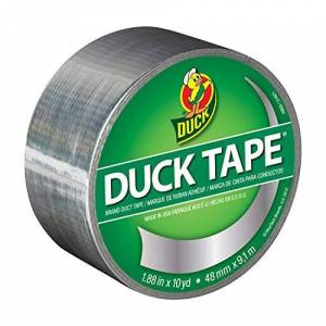 Duck Tape Solid Colours Silver - Chrome. Repair, craft, personalise, decorate and educate - 48mm X 9.1M