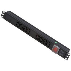 LINDY 1U 8 Way Horizontal Mount PDU IEC C14 Male to 8 x IEC Mains Sockets - Switched 3m