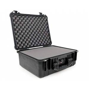 PELI 1550 Professional Protective Case for Fragile Equipment, IP67 Water Resistant, 61L Capacity, Made in Germany, With Customisable Foam Insert, Black