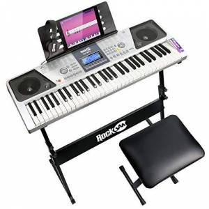 PDT RockJam 61 Key Keyboard Piano Kit with Digital Piano Bench, Electric Piano Stand, Headphones Piano Note Stickers & Simply Piano Lessons