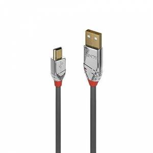LINDY 36631 USB 2.0 Type A to Mini-B Cable, Cromo Line - Grey, 1m