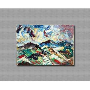 Arte Contemporary and contemporary decorative canvas frame, living room, abstract original paintings like the Impressionists, hand made with oil on canvas by Puliafico, - TRE COLLINE 50x70cm