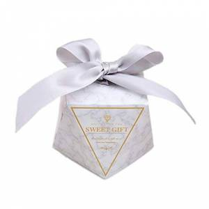 JZK 50 x Diamond shape grey favour boxes with ribbons paper sweets box for wedding engagement birthday Christmas party