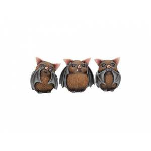Nemesis Now Three Wise Bats 8.5cm Figurines, Brown