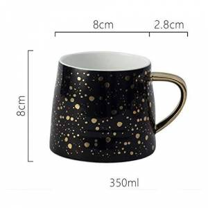 AOARR Porcelain Cup Mug Cup Set 350Ml Ceramic Cup Milk Cups Luxury Nordic Wave Point Coffee Mugs Christmas Gifts Mug and Cup-Black