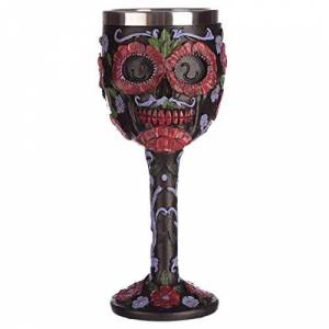 Puckator Collectable Decorative Day of The Dead Skull Goblet x 1, Resin, Multi, Height 19cm Width 7.5cm Depth 8cm