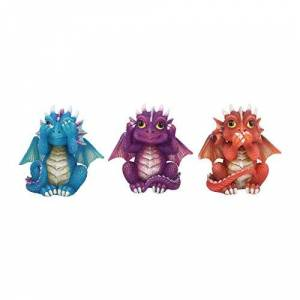 Nemesis Now Three Wise Dragonlings Figurine 8.5cm Red, Resin