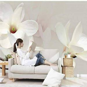 Hwhz Custom Photo Mural Wallpaper Modern Fashion Lily Flower 3D White Magnolia Flower Wall Painting Living Room Wall Murals Wallpaper-120X100Cm