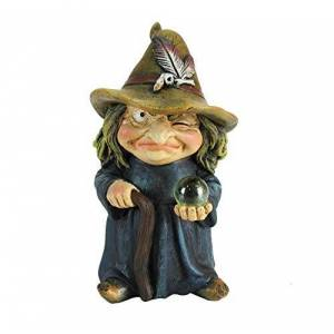 Nemesis Now Trouble Small Witch and Crystal Ball Figurine, Polyresin, Blue, 9.7cm