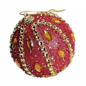 AMhomely Christmas Decorations Sale,Christmas Rhinestone Glitter Baubles Balls Xmas Tree Ornament Decoration 8CM Merry Christmas Decorative Xmas Decor Ornaments Party Decor Gifts For Kids OR Adults