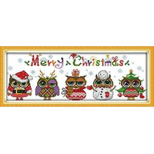 Awesocrafts Cross Stitch Kits, Awesocrafts Christmas Owls Easy Patterns Cross Stitching Embroidery Kit Supplies Christmas Gifts, Stamped or Counted (Owls, Stamped)