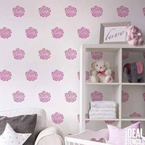 Ideal Stencils Rose Flower Pattern Stencil Girls Nursery Home Wall Decorating & Craft Stencil Paint Walls Fabrics & Furniture 190 Mylar Reusable Stencil (M/see image/26X37CM)