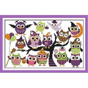 Awesocrafts Cross Stitch Kits, Awesocrafts Interesting Halloween Cute Owls Easy Patterns Cross Stitching Embroidery Kit Supplies Christmas, Stamped or Counted (Owls, Stamped)