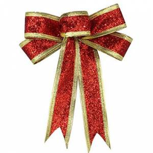 zwyjd Glitter Christmas Bows Ribbons Christmas Wreath Bow Christmas Tree Ornaments Bows for Christmas Party Decoration,Red