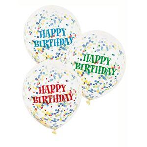 "Unique 12"" Assorted Happy Birthday Confetti Balloons, 6ct"