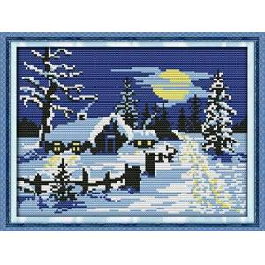 Awesocrafts Cross Stitch Kits, Sun Snow Christmas Awesocrafts Easy Patterns Cross Stitching Embroidery Kit Supplies Christmas Gifts, Stamped or Counted (Snow, Counted)