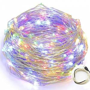 HanLuckyStars String Lights Copper Wire, USB Power 10M 100LEDs Starry LED String Lights Silver for Christmas Wedding Home Indoor Outdoor Decorating