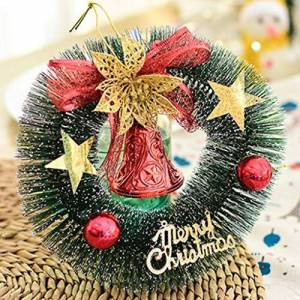LEEDY Decorated Pre-Lit Wreath Christmas Decoration Artificial Christmas Tree Decoration Small Wreath Ornament Home Decor Pendant