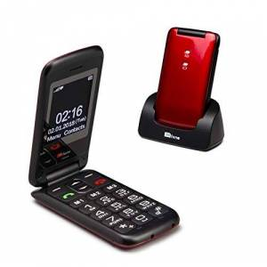 TTfone Nova TT650 Big Button Flip Folding Mobile Phone - Easy and Simple to Use - Pay As You Go (Red, Vodafone with 20 Credit)