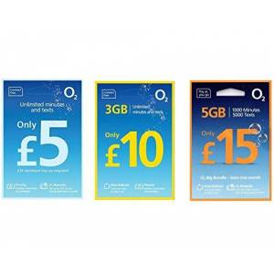 Unknown O2 Big Bundle SIM Card Pay As You Go - Contract Free - 30 Days - 5 - Unlimited Minutes - Standard/Micro/Nano - (5 Bundle)