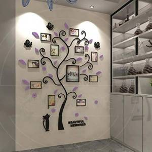 Lizp 3D Crystal Stereoscopic Photo Frame Wall Sticker Acrylic Kitten Photo Wall Memory Tree Blue Black Photo Collage Frame For Bedroom Living Room Children's Room Etcpurple-wide181x high220cm(71x87inch)