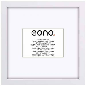 Eono by Amazon - 30x30 cm Picture Frame Made of Solid Wood Display Pictures 13x18 with Mat or 30x30 Without Mat for Wall Mounting Photo Frame White