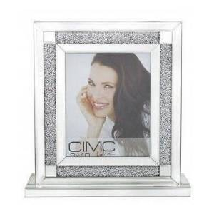 "Big Living 8"" x 10"" Sparkle Crushed Diamond Glitz Crystal Mirrored Glass Box Photo Frame"